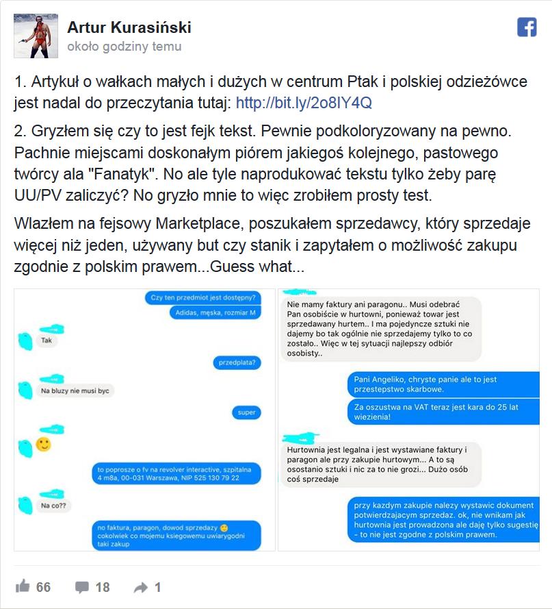 dbc84d32333f9 Bloger napisał o oszustwach w C.H. PTAK w Rzgowie. Mamy odpowiedź ...